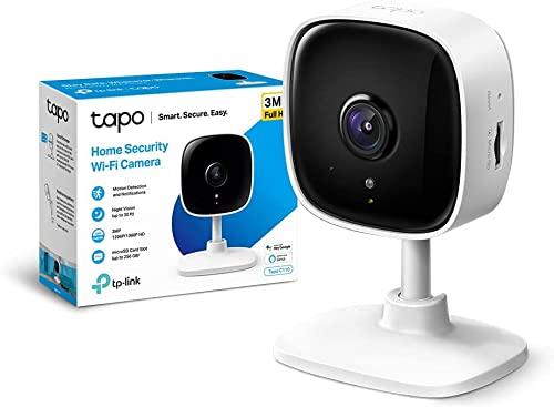 TP-Link TAPO C110 - Cámara Wi-Fi Interior, Resolución 3MP, Visión Nocturna Avanzada, Audio bidireccional, notificaciones en Tiempo Real, Compatible con Alexa y Google Home