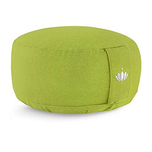 Lotuscrafts Yogakissen Meditationskissen Rund Lotus - Sitzhöhe 15cm - Waschbarer Bezug aus Baumwolle - Yoga Sitzkissen mit Dinkelfüllung - GOTS Zertifiziert - Mit...