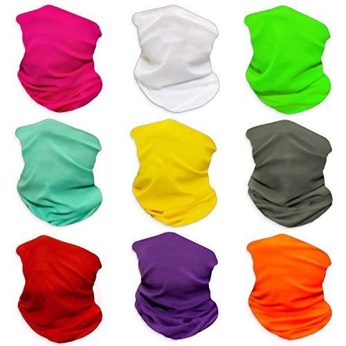 (Pack of 9) Headband Bandanas Shield for Face Headwear Face Mask Scarf Balaclava Neck Gaiter Headwrap (Solid 9)