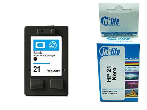 Cartucce Inklife Compatibile con HP 21 per Stampanti Deskjet D1530, D1560, D2360, D2460, F2290, F335, F2180, F380, F390, F4180 e Officejet 4315, 4335, (Nero, Standard)