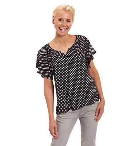 manguun collection Blusenshirt, gepunktet, Flatter#rmel, Mini-V-Ausschnitt Schwarz 46