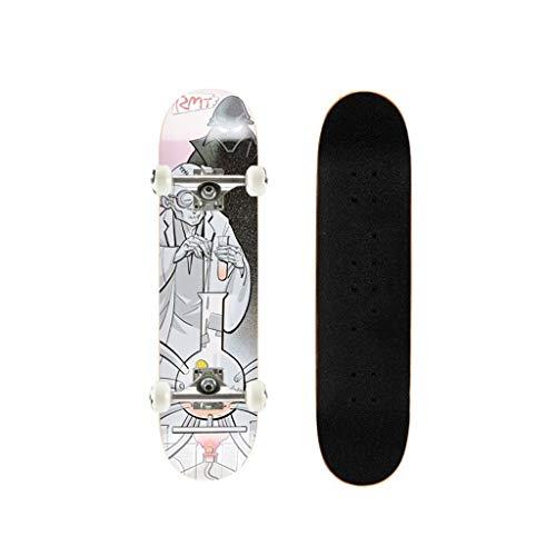 LXJ Kinder Skateboard, Komplettes Skateboard, Maple Deck, Profi-Board Doppel Kette, Allrad Jungen Und Mädchen Kleine Skateboard Kurzen Brett Anfänger Skateboard (Color : C)