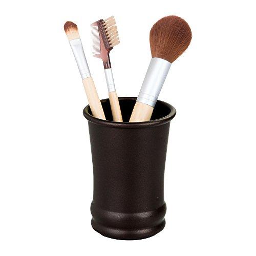 iDesign Olivia Metal Tumbler, Makeup Brush Holder and Toothbrush Cup for Bathroom, Countertop, Desk, Dorm, College, and Vanity, 3.25' x 3.25' x 4.25', Bronze