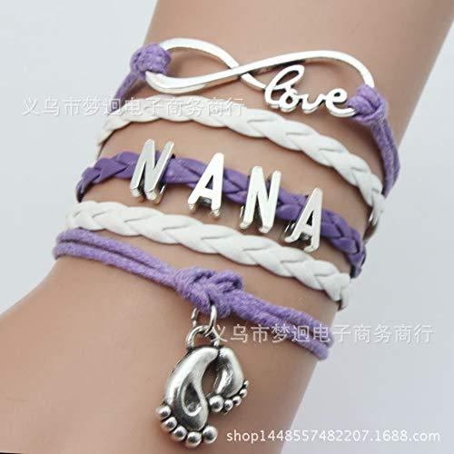Zgrjiueryi armband, gevlochten armband, meerdere rijen armband met letter 8, modieuze armband met gesp van metaal, paars, blauw