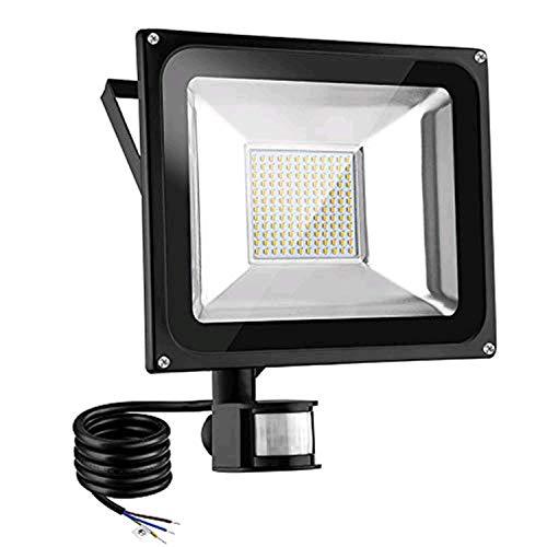 Foco LED con detector de movimiento exterior 100 W, superbrillante, 10000 lm, foco LED, 3000 K, blanco cálido, IP66 resistente al agua, foco LED para jardín, garaje, patio, campo deportivo