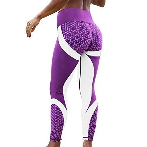 Deporte Fitness Leggings Mujeres Malla Impresión Alta Cintura Legins Pantalones de yoga Push Up Pantalones delgados elásticos &787 (Color : Purple white1, Size : X-large)