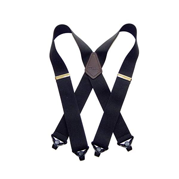 Holdup X-back Heavy Duty 2″ Wide Graphite Black Suspenders with Patented jumbo Gripper Clasps