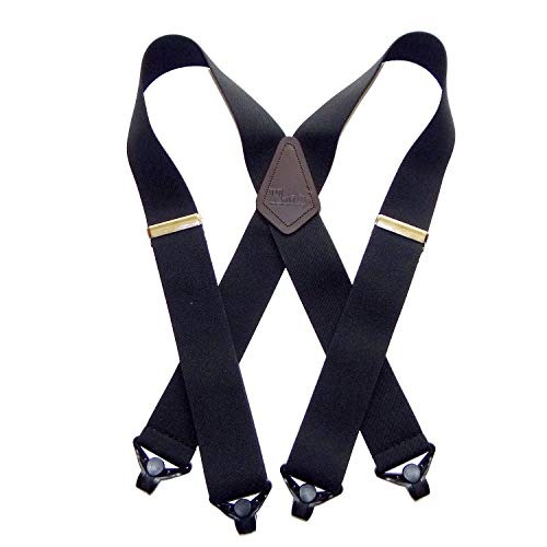 Holdup X-back Heavy Duty 2' Wide Graphite Black Suspenders with...