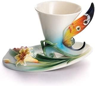 Franz Buckeye Butterfly Porcelain Cup & Saucer Set