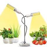 JEVDES 50W Lampe de Plante LED Plant Grow Light Double Tête Lampe de Croissance des Plantes à Spectre Complet pour Les Plantes d'intérieur Serre Hydroponique, Ampoule Remplaçable E27/E26