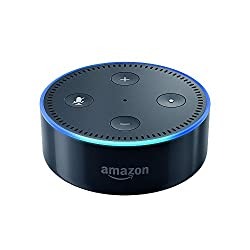 Image of an Echo Dot with link to purchase through Amazon