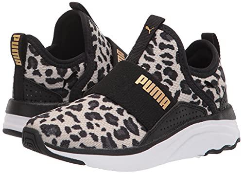 PUMA Softride Sophia Slip On Running Shoe, Black Team Gold, 12 US Unisex Little Kid