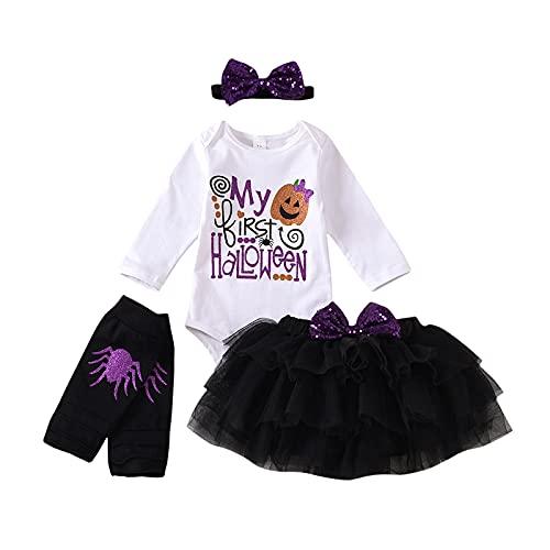 Pelele de Manga Larga para Bebé Niña Falda de Tutú de Halloween Diadema con Lazo Legging Mono 4 Piezas Traje de Otoño