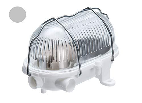 Oval 60, ES / E27, Grey Ceiling/Wall Bulkhead Light Lamp, IP54, Removable Steel cage, Glass Cover, OVAL-60-E27-GTGRS/Grijs plafond/wand schotlichtlamp, verwijderbare stalen kooi, glazen afdekking