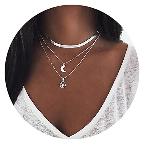 Sttiafay - Collana girocollo a strati in stile boho, con ciondolo a forma di luna a forma di disco multistrato, collana con ciondolo a forma di clavicola e serpente, per donne e ragazze