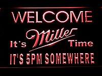 Miller It's Miller Time 5pm LED看板 ネオンサイン ライト 電飾 広告用標識 W40cm x H30cm レッド