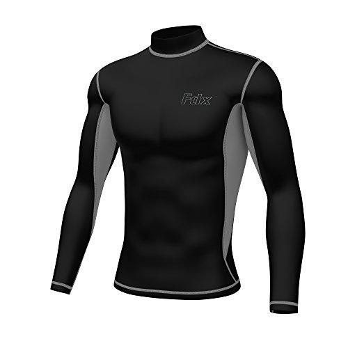 FDX, Armour, maglietta da uomo a compressione termica a maniche lunghe, FDX-251, nero/grigio, M