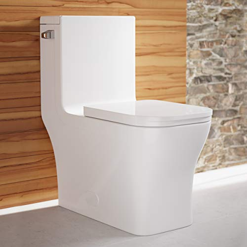 Swiss Madison Well Made Forever SM-1T107 Concorde One Piece Elongated Left Side Flush Handle Toilet 1.28 gpf, Glossy White