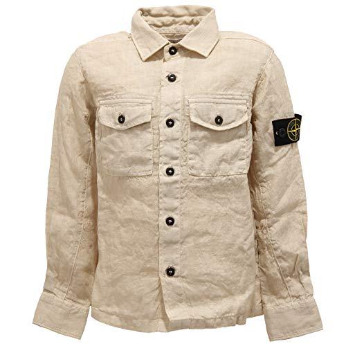 Stone Island 7293Y Camicia Bimbo Boy Junior Uneven Aspect Beige Linen Shirt [6 Years]