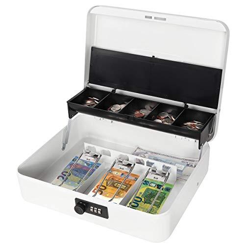 Parrency Caja de caudales grande con compartimento para dinero, cierre de seguridad, compartimento para monedas libre, 4 bills/5 monedas, tamaño grande, color blanco