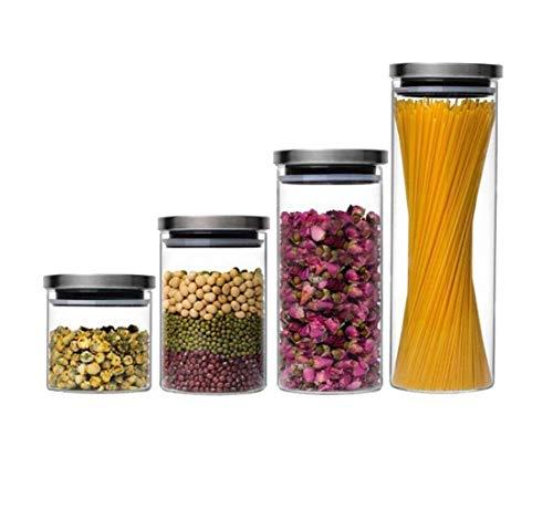 Vorratsdose Glasbehälter Edelstahl Anti Rutsch Gummi Dose Glas Luftdicht stapelbar Vorratsbehälter Frischhaltedose Aufbewahrung Kaffeedose Glas (1,1 l)