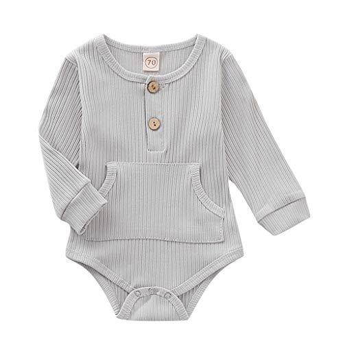 Julhold Kleinkind Baby Kinder Mädchen Jungen Einfache Feste Langarm Feste Strampler Body Lässige Baumwollkleidung 0-24 Monate