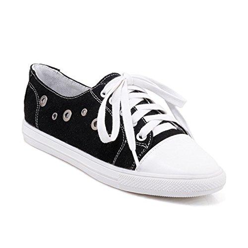 Baqijian Women Flats Lace Up Round Toe Metal Footwear Girl Shoes Big Size Black 4