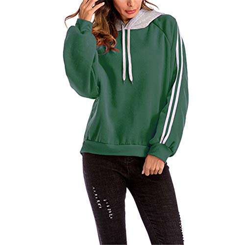 ZFQQ Otoño e Invierno suéter de Mujer de Gran tamaño Suelto Color a Juego Casual con Capucha