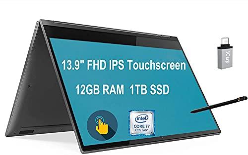 "Lenovo Premium Yoga C930 2-in-1 Convertible Business Laptop 13.9"" FHD IPS Touchscreen Intel Core i7-8550U 12GB RAM 1TB SSD Thunderbolt Fingerprint Active Pen Win10 + USB-C Adapter"