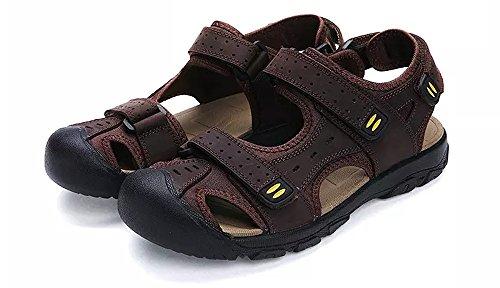 Hombres Sandalias Senderismo Verano Zapatillas Trekking Deportivas Casuales Pescador Cuero Playa Zapatos Moda (47.5/48 EU, Marrón 2)