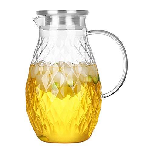 SYue Brocca in Vetro borosilicato con Coperchio e beccuccio - Caraffa per Acqua Calda e Fredda da 68 Once con Motivo a Rombi Unico, brocca per Bevande per tè e succhi ghiacciati Fatti in casa.