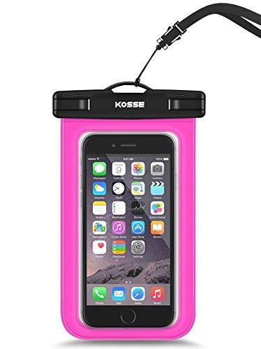 Bolsa Impermeable Móvil Universal, Kosse IPX8 Bolsa Estanca para iPhone 7/6S, 7/6S Plus, SE, Galaxy S7/S6/J7/J5/J3, Huawei P20/P9/P8 Lite, Xiaomi A1/Redmi Note 5/5 Plus Hasta 6,0' Diagonal -Magenta