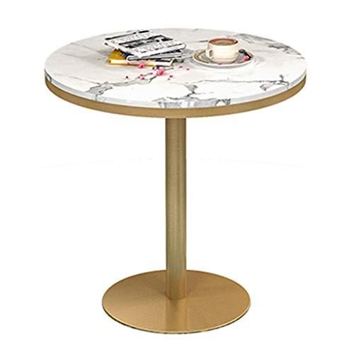 YLMF Runder Verhandlungstisch, schmiedeeiserner Rahmen und Stabiler Sockel, Marmor-Konferenztisch, für Küche, Restaurant, Café