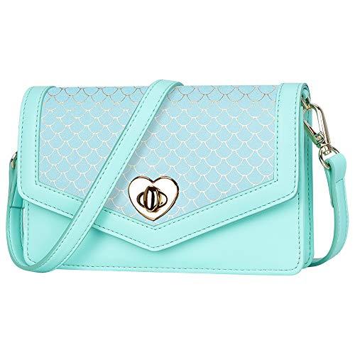 Toplive Handy Geldbörse Brieftasche Tasche für Frauen, Wristlet Crossbody Satchel Geldbörsen Kleine Umhängetasche für Frauen,Meerjungfrau Mintgrün