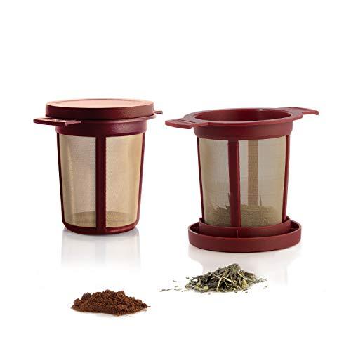 Finum BREWING BASKET (M) - Dauerfilter für Tee & Kaffee, Sieb, Teefilter, Tassen- & Becherfilter, Gewürzfilter, Tee-Filter, Kräutersieb, BPA-frei, rostfreies Edelstahlgewebe, Geschmacksneutral - Rot