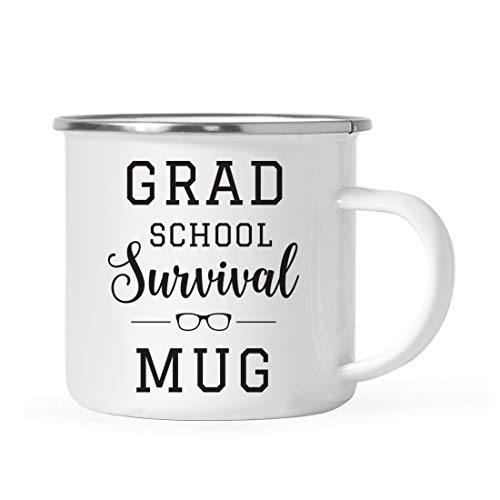 Andaz Press 11oz. Graduation Stainless Steel Campfire Coffee Mug Gift, Grad School Survival Mug, 1-Pack, Includes Gift Box, Enamel Camping Cups for Graduates School Students of Class of 2021