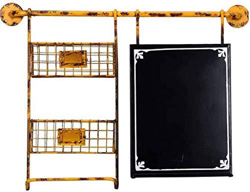 Aanslagplank-creatief onderstel tafel industrieel creatief decoratief opslagframe 76,5 * 10 * 56cm (kleur: geel) geel