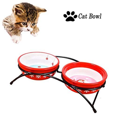 Soul hill Katze Futternapf Raised mit Eisengestell, Haustierfutter Wasser-Schüssel for Katzen und kleine Hunde, Anti-skidAnti-Spill, Durable, Erhöhte Cat Feeder (Color : Red)