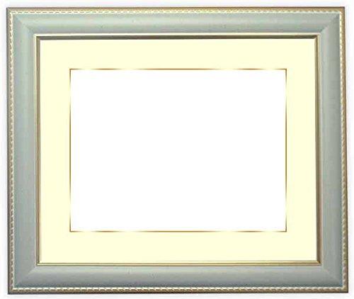 写真用額縁 9614/グレー ハガキ(152×102mm) ガラス マット付(金色細縁付き) 写真/9614/グレー マット色:黒