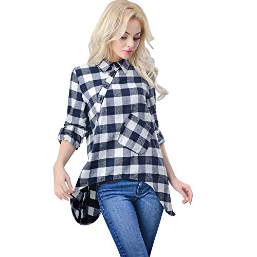 OSYARD Damen Kariertes Pullover Sweatshirt Oberseiten, Mode Frauen Plaid Casual Tops T-Shirt Lose Langarm Bluse Umlegekragen Hemd Tunika Kleidung Asymmetrisch Polohemd Strickpullover(S, Schwarz)