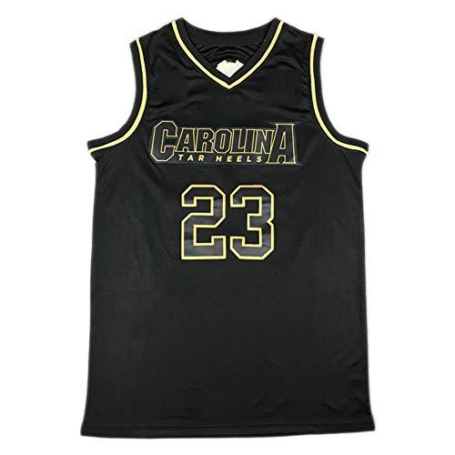 # 23 Michael Jordan Chicago Bulls University Edition North Carolina Camiseta de Baloncesto Bordada, Malla Transpirable, Unisex sin Mangas Camiseta Deportiva de secad Black Gold-XXL