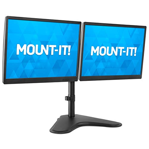 Mount-It! Dual Monitor Stand | Double Monitor Desk Stand Fits Two x 21 22 23 24...