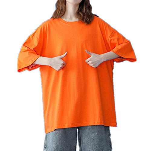 Camiseta básica de algodón de las mujeres de verano de gran tamaño sólido camisetas casual suelta camiseta O-cuello femenino Tops, naranja, L