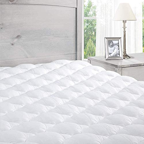 ExceptionalSheets Pillowtop Mattress Topper with Fitted Skirt - Extra Plush Mattress Pad Found in Marriott Hotels - Removable Pillowtop Mattress Pad - King Size