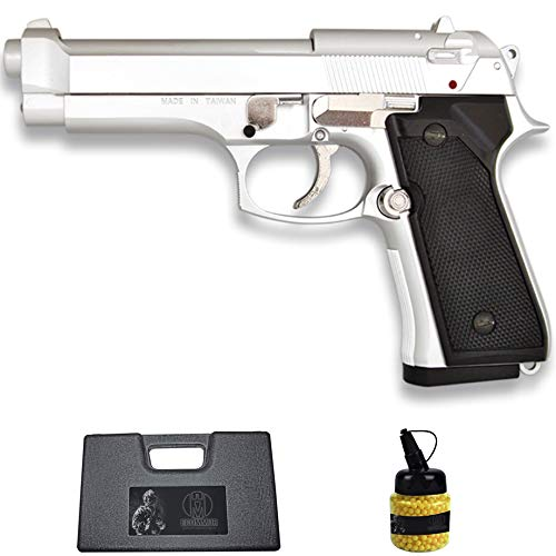 Pistola HFC-118E M92 Plata (6MM) | Arma Corta de Airsoft (Bolas de plástico) Tipo Beretta 92 + maletín PVC + biberón