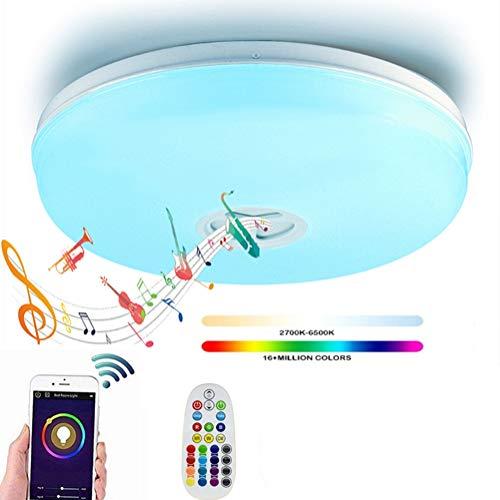 OOFAF LIGHT LED Wireless WiFi Smart plafondlamp met Bluetooth luidspreker Stand by Alexa Echo & Google Smartphone App dimbaar