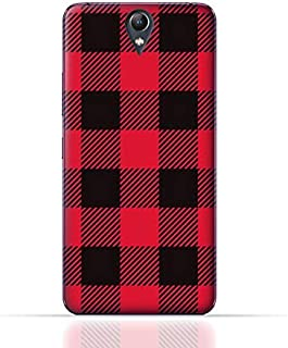 Lenovo Vibe S1 Lite TPU Silicone Case with Red and Black Plaid Fabric Design
