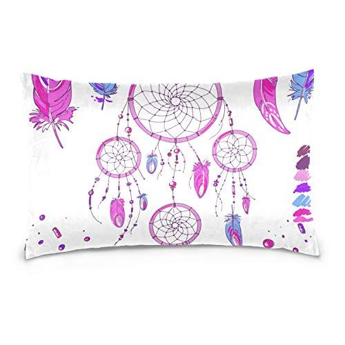 Ahomy Home Decor Pillow case Dream Catchers Feather 2-Pack Queen Size PillowCases with Hidden Zipper, 50 x 75 cm
