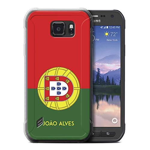 eSwish Personalisiert Persönlich National Nation Flagge 2 Gel/TPU Hülle für Samsung Galaxy S6 Active/G890 / Portugal/Portugiesisch Design/Initiale/Name/Text Schutzhülle/Hülle/Etui