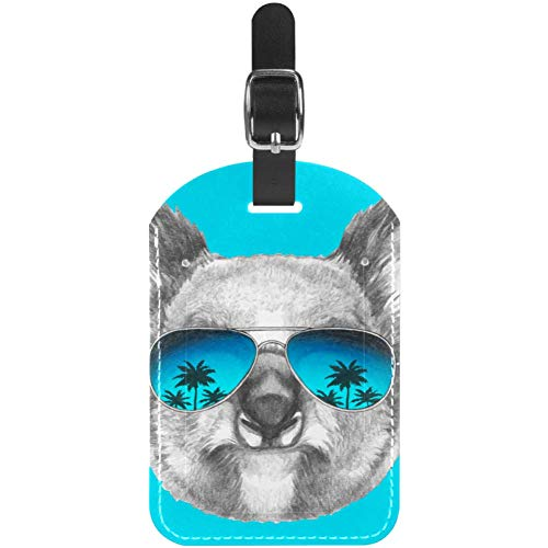 Luggage Tags Travel Koala with Sunglass Leather Travel Suitcase Labels 1 Packs
